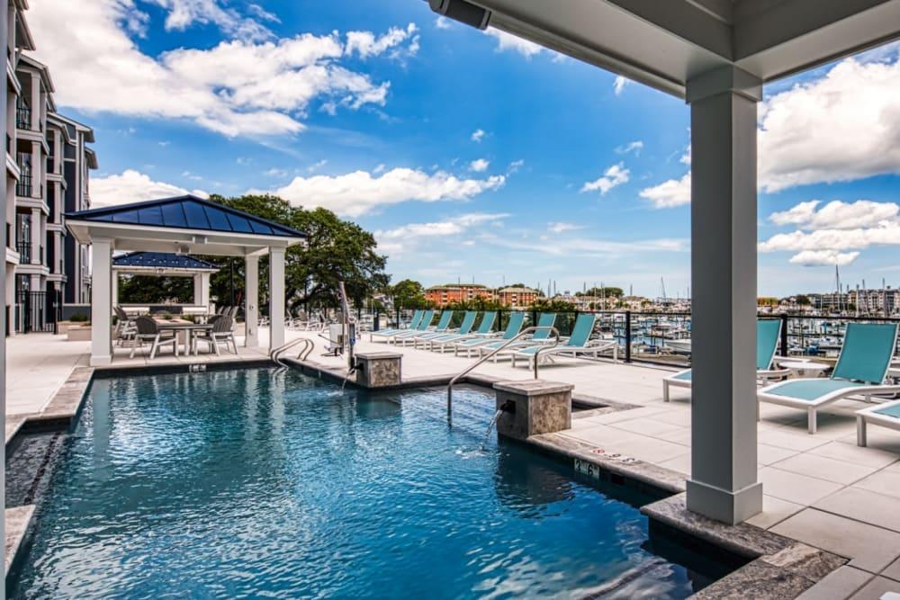 A swimming pool overlooking the bay at Marina Villa in Norfolk, Virginia