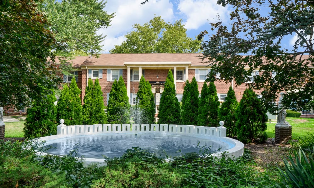 Beautiful fountain at General Greene Village Apartment Homes in Springfield, NJ