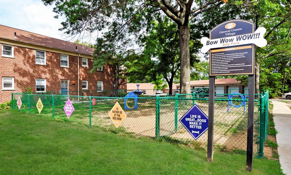 The dog park at General Greene Village Apartment Homes