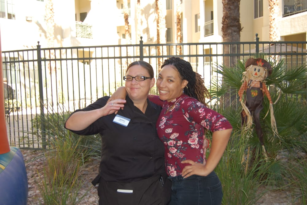 Two staff members working an event at Merrill Gardens at Green Valley Ranch in Henderson, Nevada.
