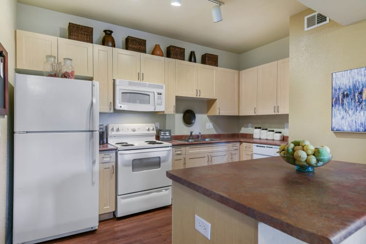 Spacious kitchen with plenty of counter top space at Ranch ThreeOFive in Arlington, Texas