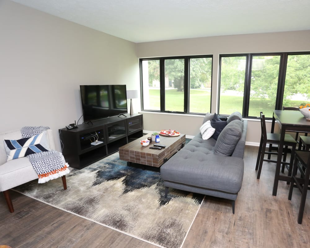 Bright living room at The August Apartments in Lexington, Kentucky