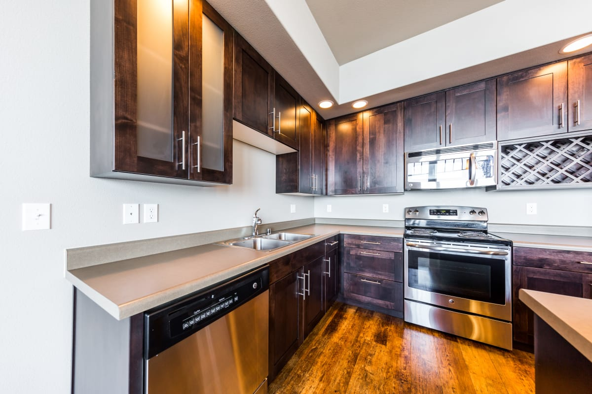Bright, spacious kitchen at Copperline at Point Ruston in Tacoma, Washington