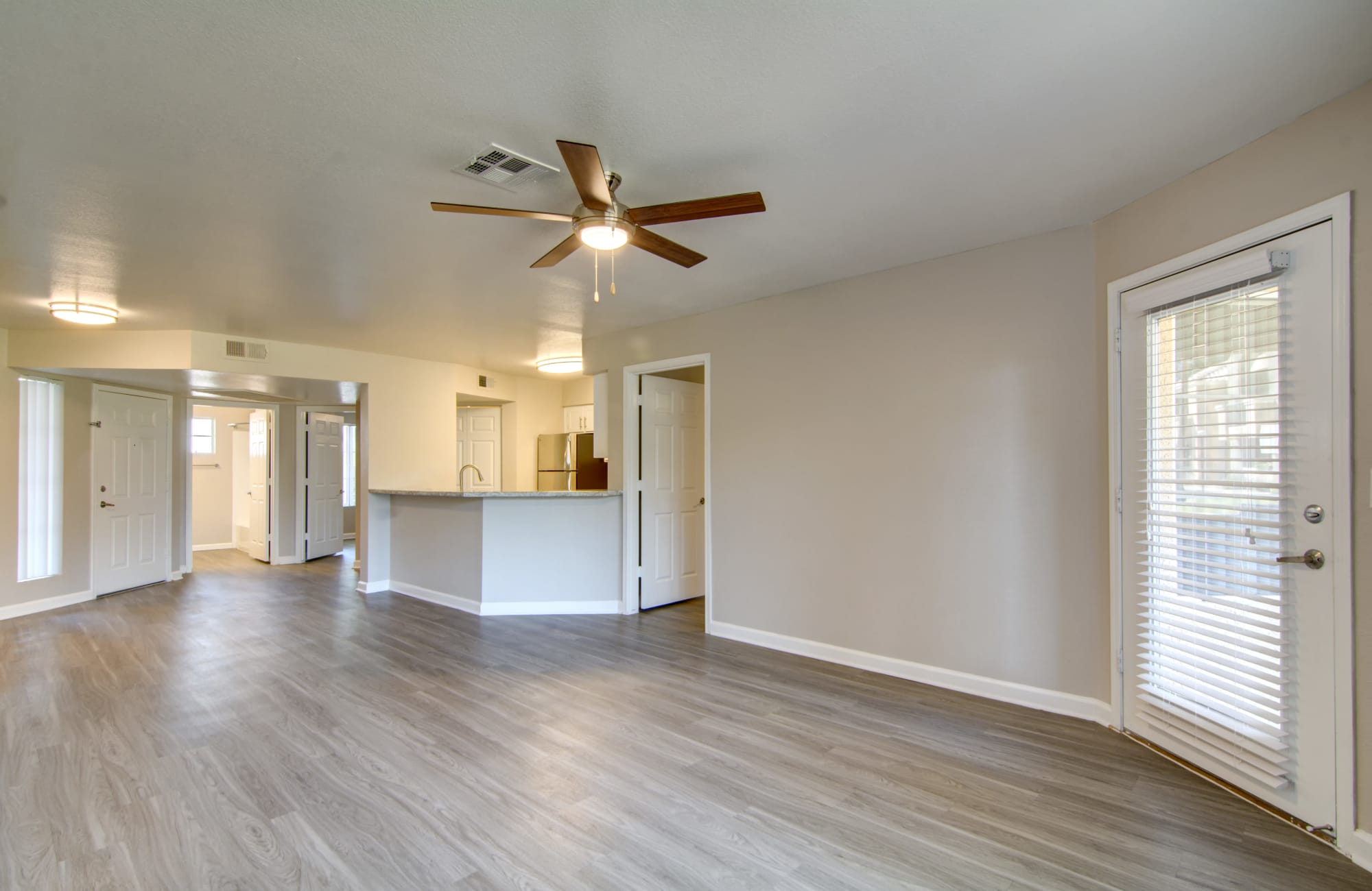 Large open floor plan with ceiling fan The Boulevard in Phoenix, AZ