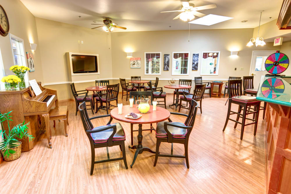 Game room at Brookstone Assisted Living Community in Fayetteville, Arkansas.
