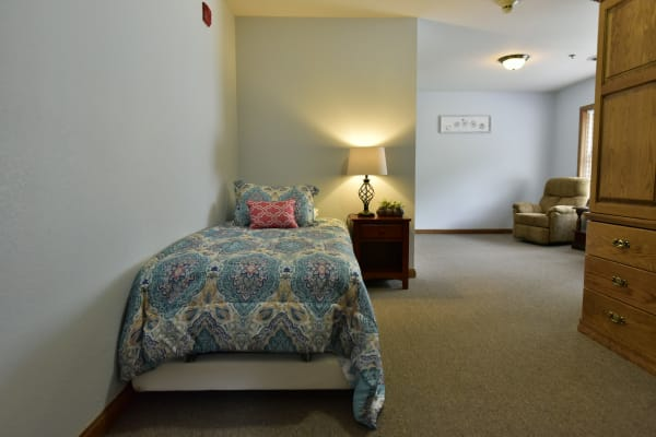 Spacious Model resident bedroom at Reflections at Garden Place in Columbia, Illinois.