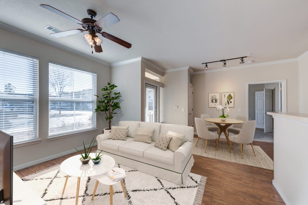 Model living room at Ingleside Apartments in North Charleston, South Carolina