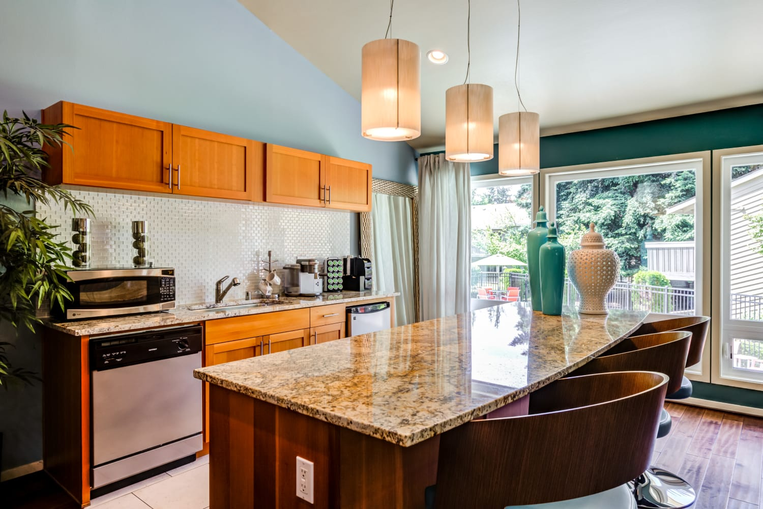 Kitchen at Vue Kirkland Apartments in Kirkland, Washington