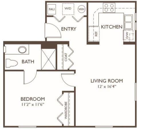 Independent Living one bedroom at Hillcrest of Loveland in Loveland, Colorado