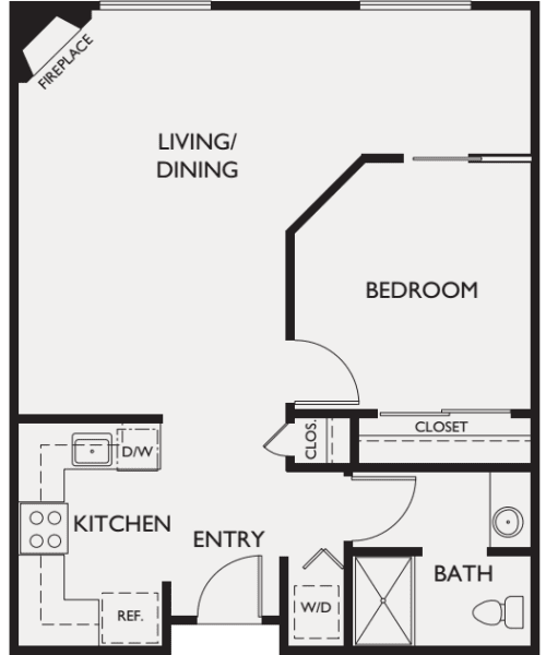 One bedroom floor plans at The Bellettini in Bellevue, Washington