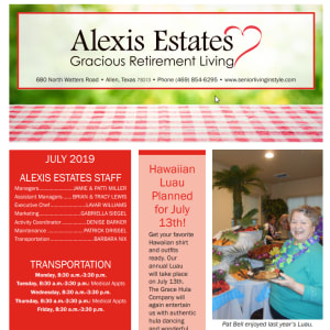 July newsletter at Alexis Estates Gracious Retirement Living in Allen, Texas