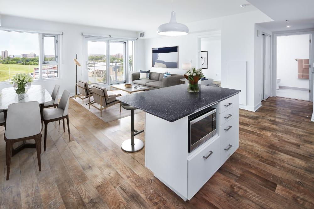 Spacious open floor plan featuring island at 19Twenty Apartments in Halifax, Nova Scotia