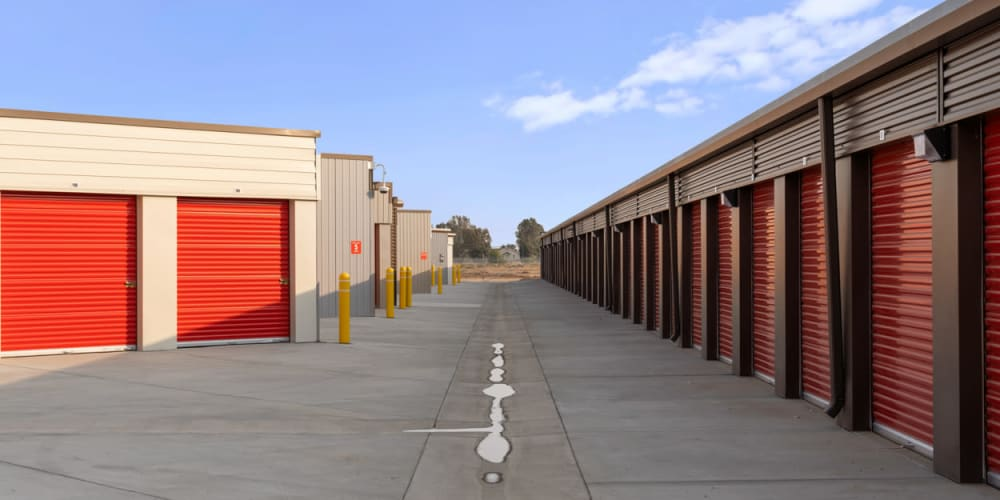 Drive-up access storage units at StorQuest Self Storage in Fresno, California