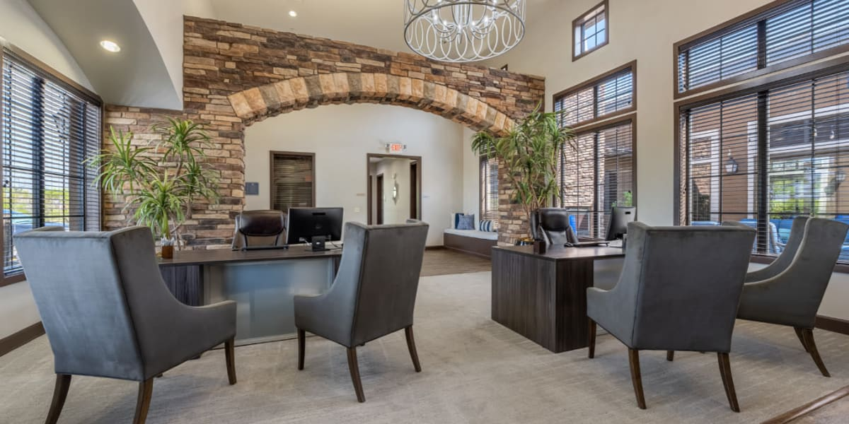 Leasing office lobby area at Marquis at Sonoran Preserve in Phoenix, Arizona
