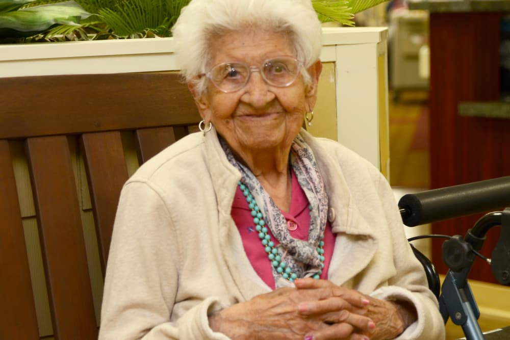 Portrait of a female resident at St. Elizabeth Healthcare Campus in Delphi, Indiana