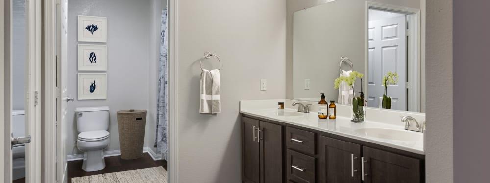 Beautiful bathroom in apartment at Hawthorn Village Apartments in Napa, California