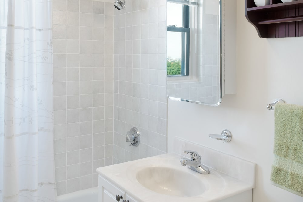 Naturally lit bathroom at Parkside Place in Cambridge, Massachusetts