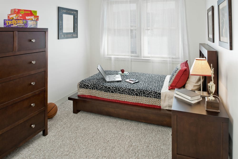 Model bedroom at Brandywyne Village in East Boston, Massachusetts