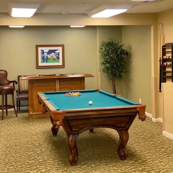 Billiard Room at Pacifica Senior Living Menifee in Sun City, California.