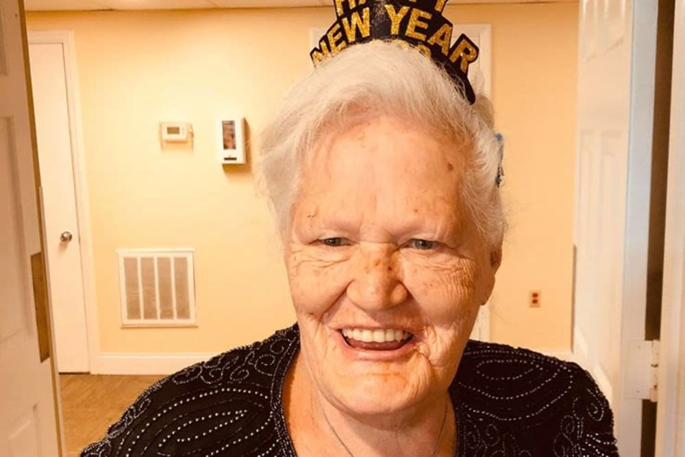 A resident celebrating New Year's Day at Bayside Terrace in Pinellas Park, Florida