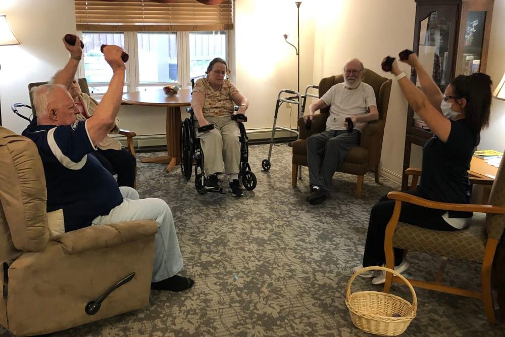 Residents participate in exercise classes at Landings of Sauk Rapids in Sauk Rapids, Minnesota