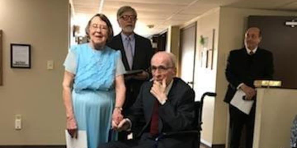 Kenneth and Helen renew their wedding vows at Garnett Place in Cedar Rapids, Iowa.