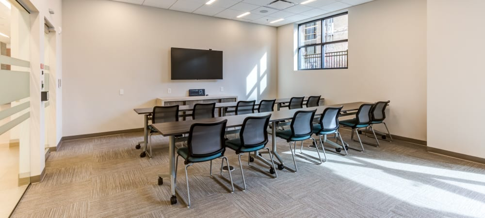 Full-sized conference room chairs at Main Street Apartments in Rockville, Maryland