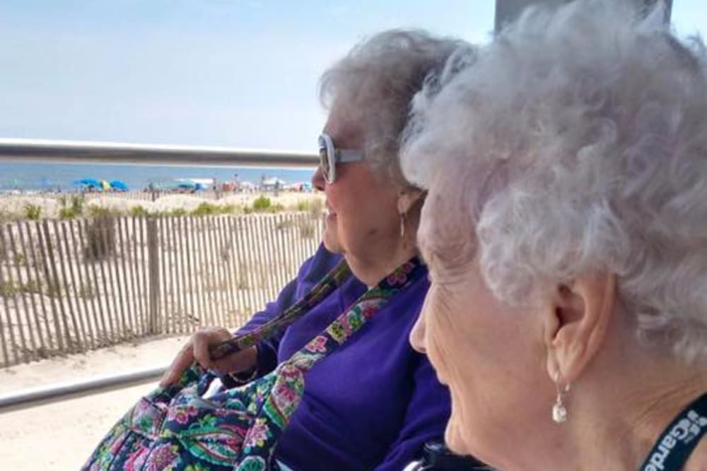 Two residents out at the beach near Traditions of Cross Keys in Glassboro, New Jersey