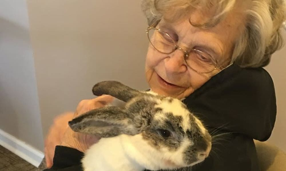 A resident wither her pet bunny at Traditions of Cross Keys in Glassboro, New Jersey