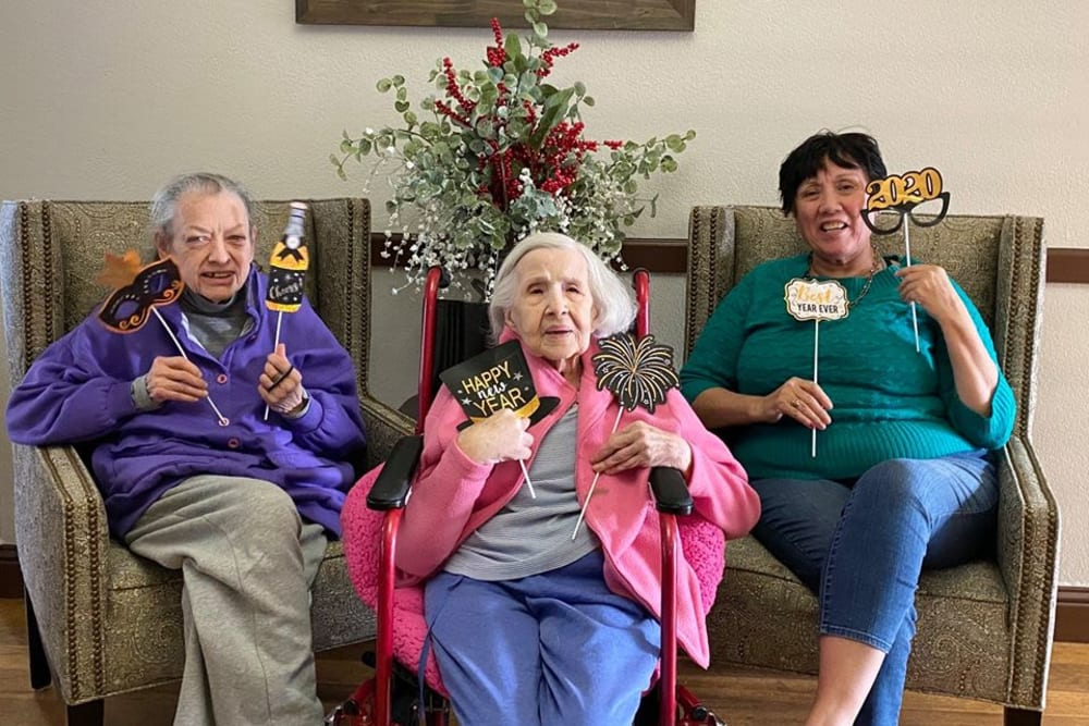 Residents celebrating the new year at Parkrose Gardens of Fairfield in Fairfield, California
