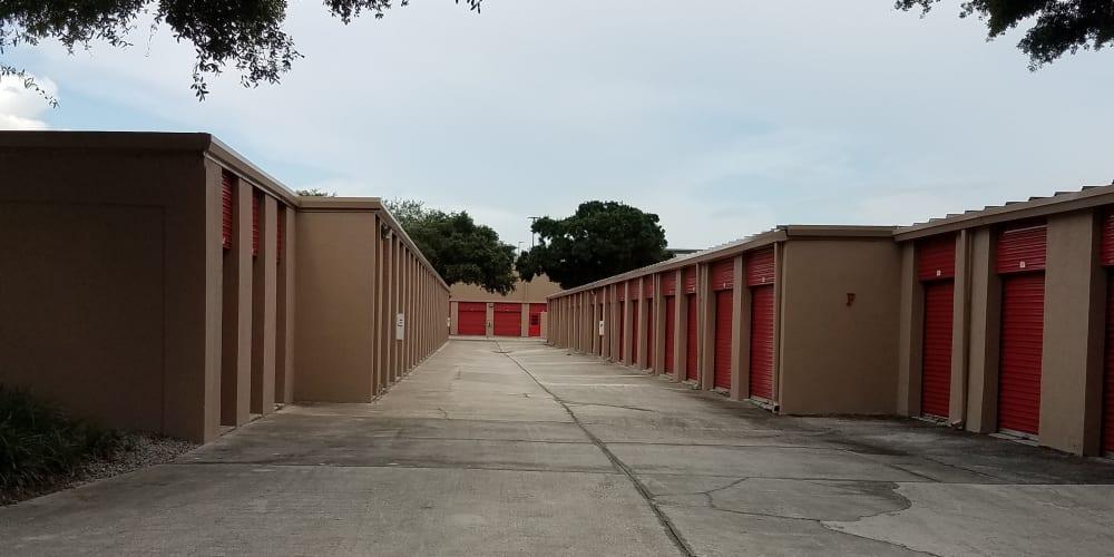 Outdoor storage units at StorQuest Self Storage in Tampa, Florida