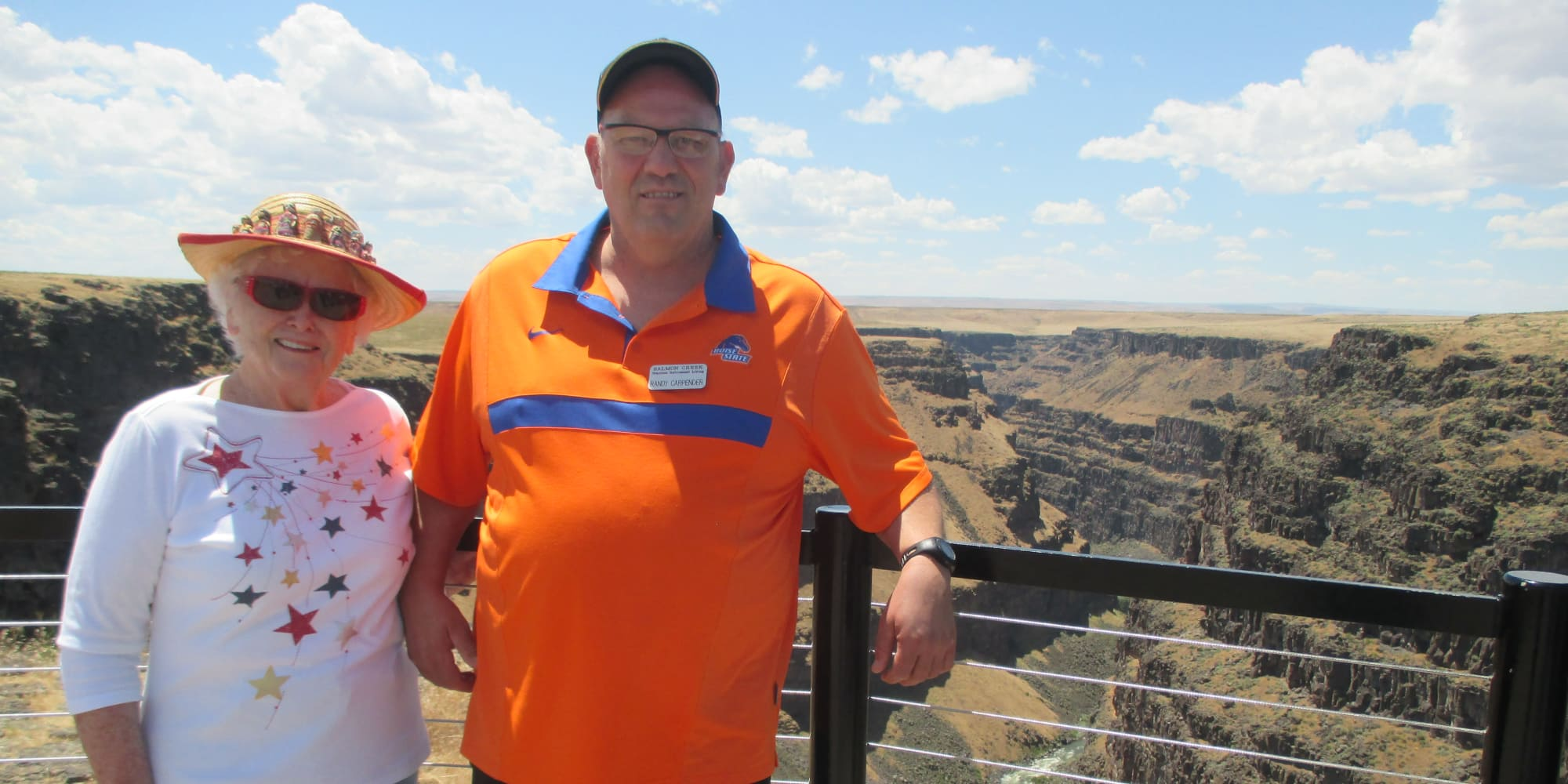 Two residents from Salmon Creek in Boise, Idaho in front of a canyon
