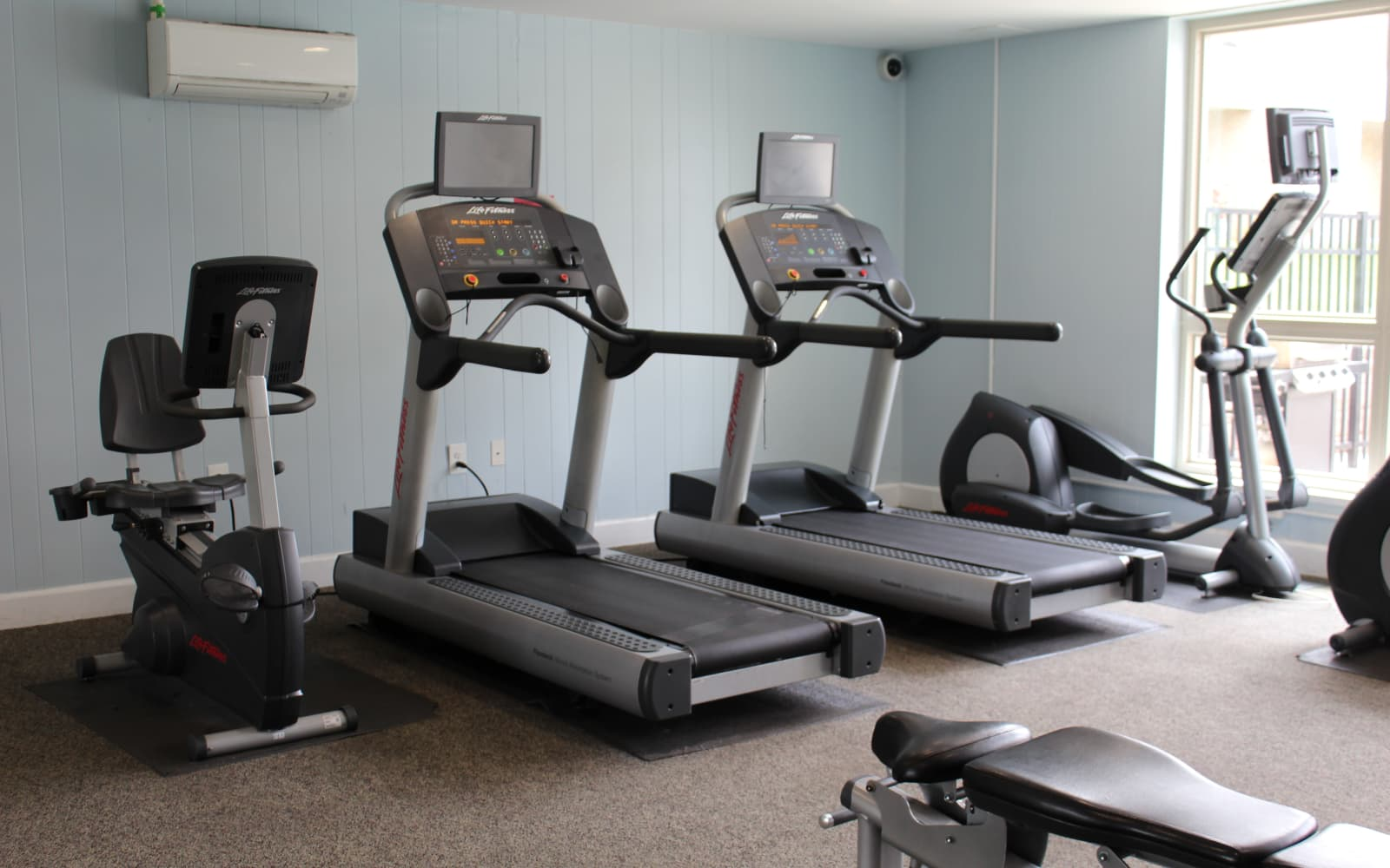 Equipped gym at Hunt Club Apartments in Cockeysville, Maryland