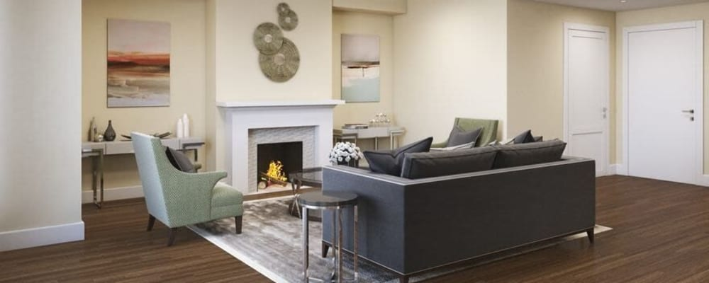 Living room in a senior apartment at The Springs at Lake Oswego in Lake Oswego, Oregon