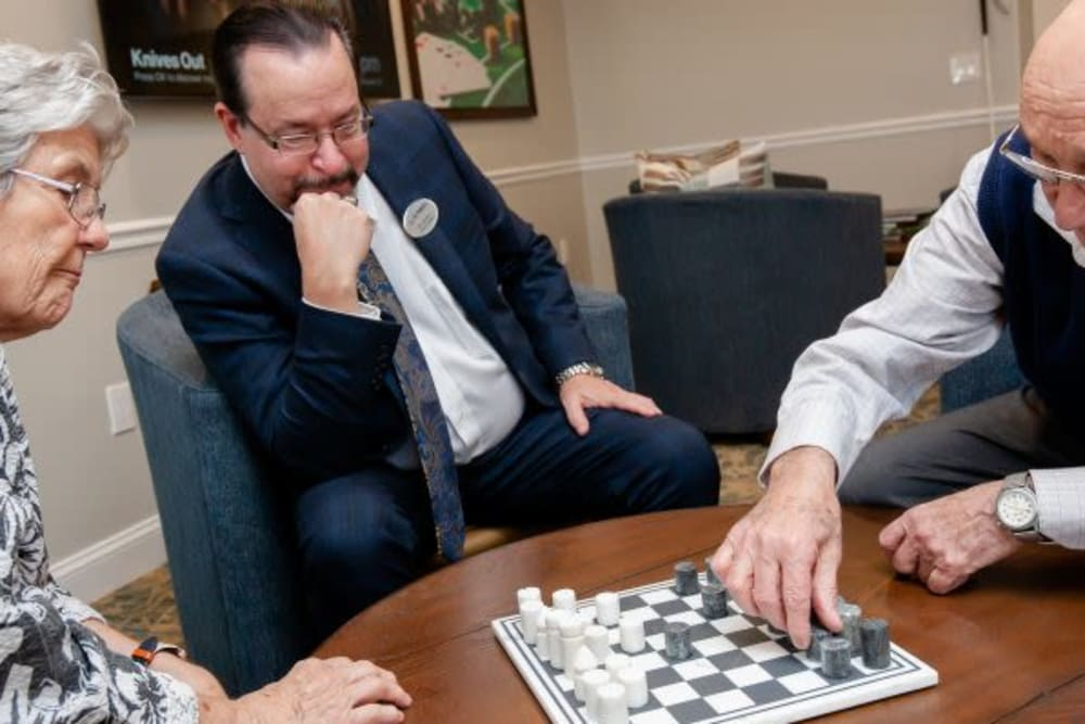 Residents playing chess at Mercer Hill at Doylestown in Doylestown, Pennsylvania