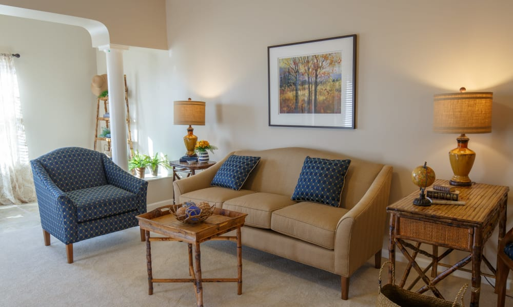 Comfy living room at Keystone Place at Terra Bella in Land O' Lakes, Florida