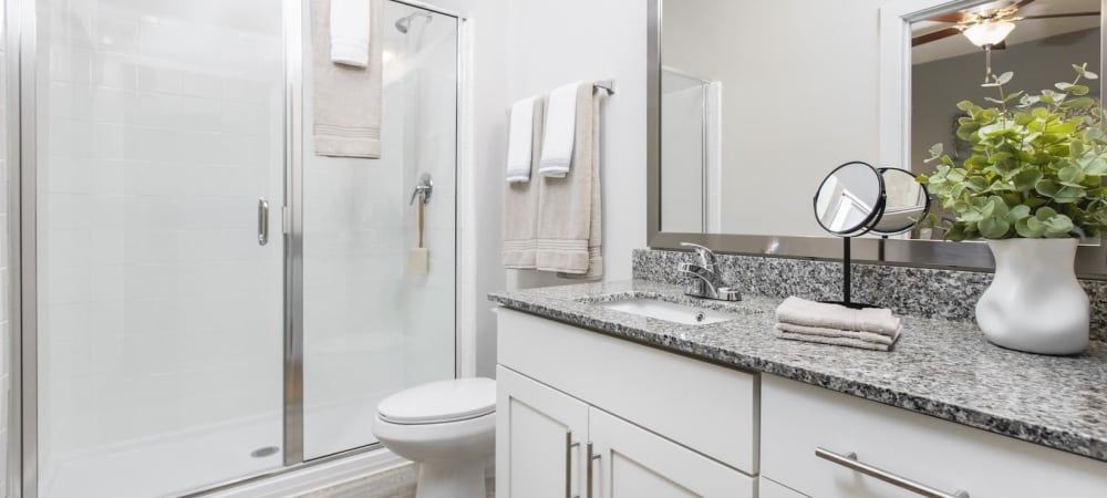 Spacious bathroom with large mirror and ample counter space at South City Apartments in Summerville, South Carolina