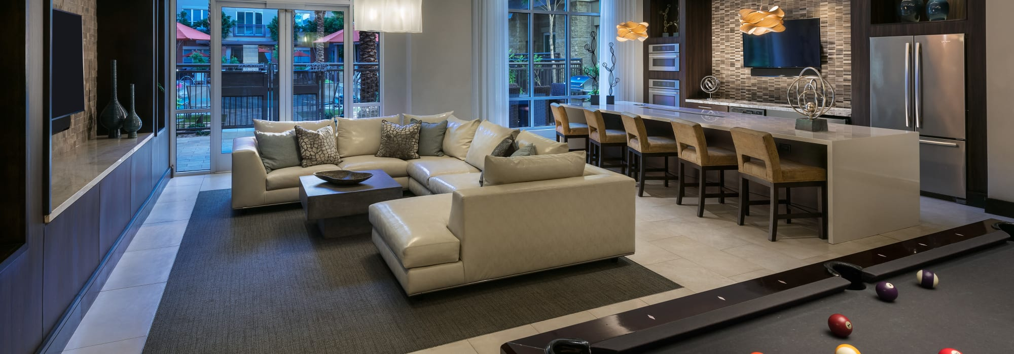 Spacious clubhouse to entertain friends and family at Emerson Mill Avenue in Tempe, Arizona