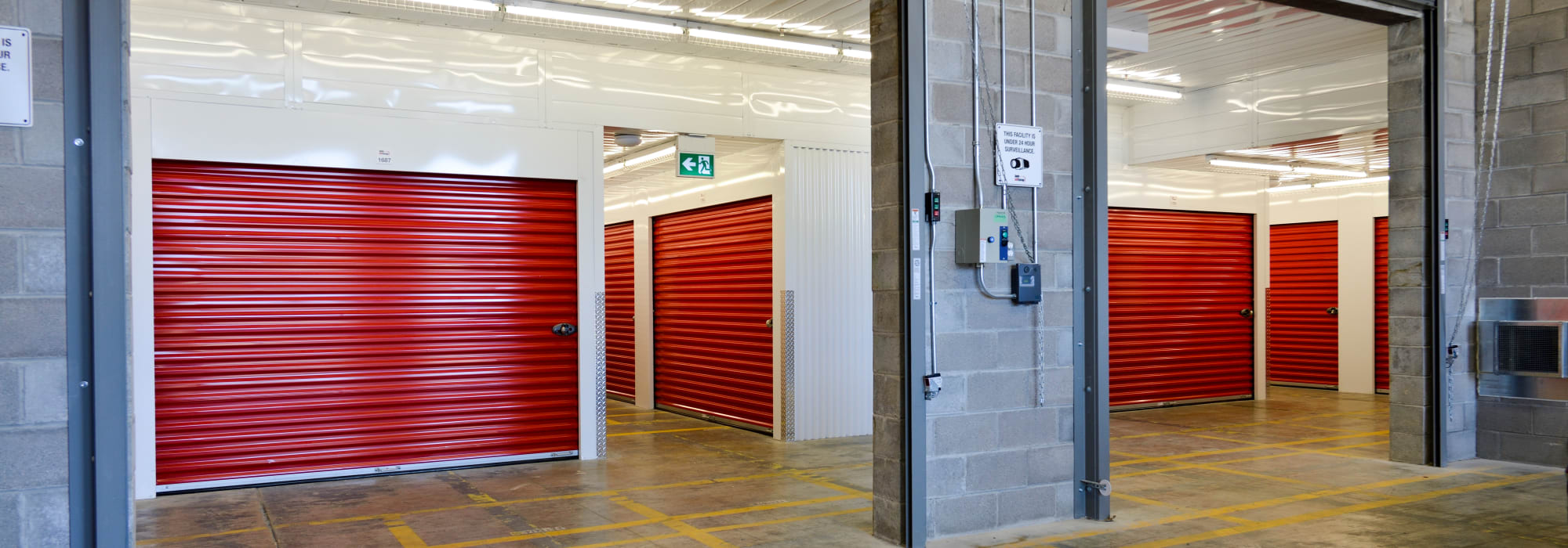 Large loading bay doors to interior storage units at Apple Self Storage - Mississauga - Meadowvale in Mississauga, Ontario