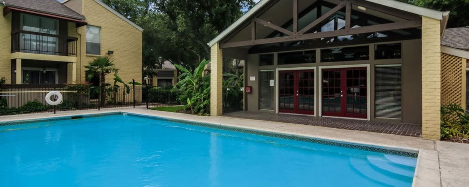 Clubhouse and pool at Cambridge Place in Houston, Texas.