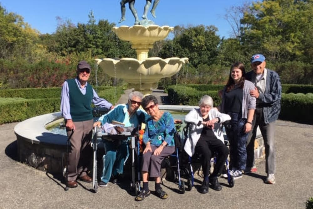 Residents gathered around the fountain at The Country House in Westchester in Yorktown Heights, New York