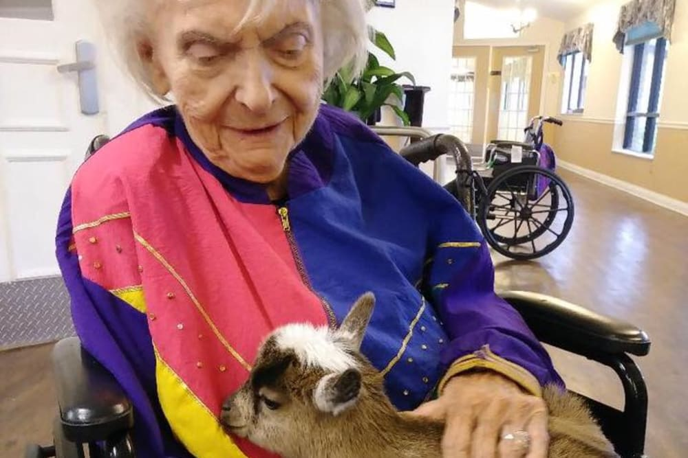 A resident holding a baby goat at Spring Oaks in Brooksville, Florida
