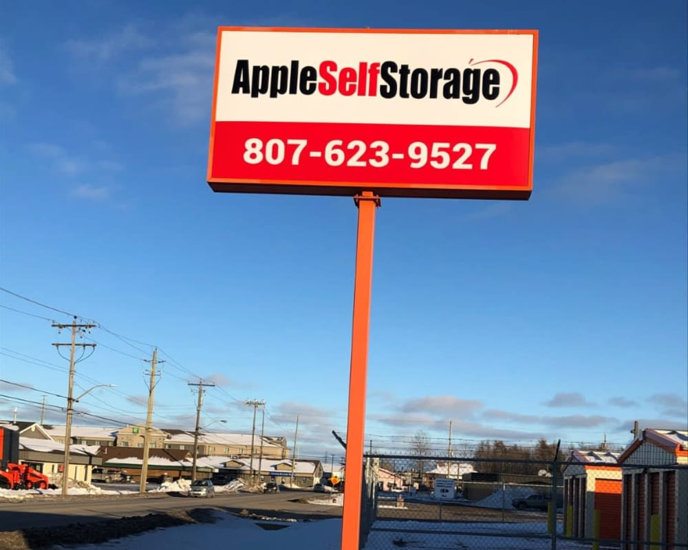 Main sign at Apple Self Storage - Thunder Bay - Intercity in Thunder Bay, Ontario