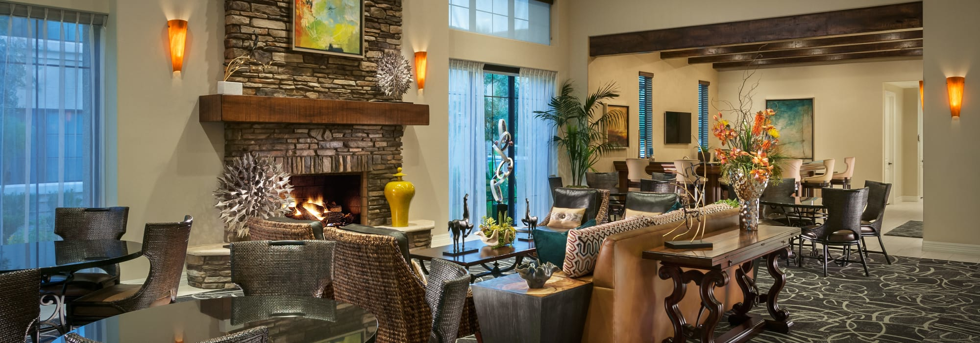 Interior of the lavish resident clubhouse at San Milan in Phoenix, Arizona