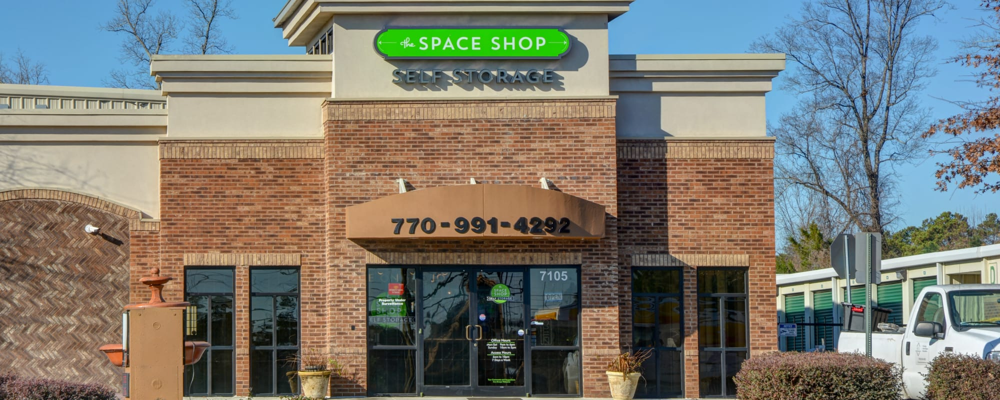 Front of building at Space Shop Self Storage in Riverdale, Georgia