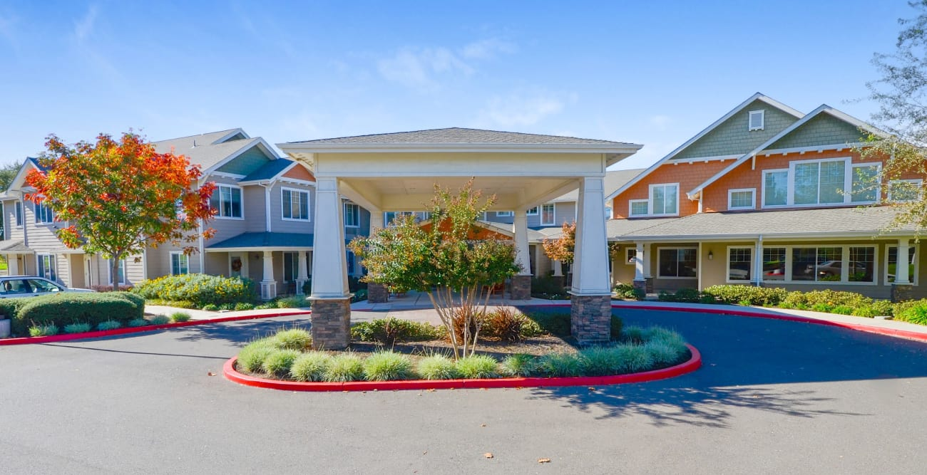 Front entrance at senior living community in Elk Grove, California