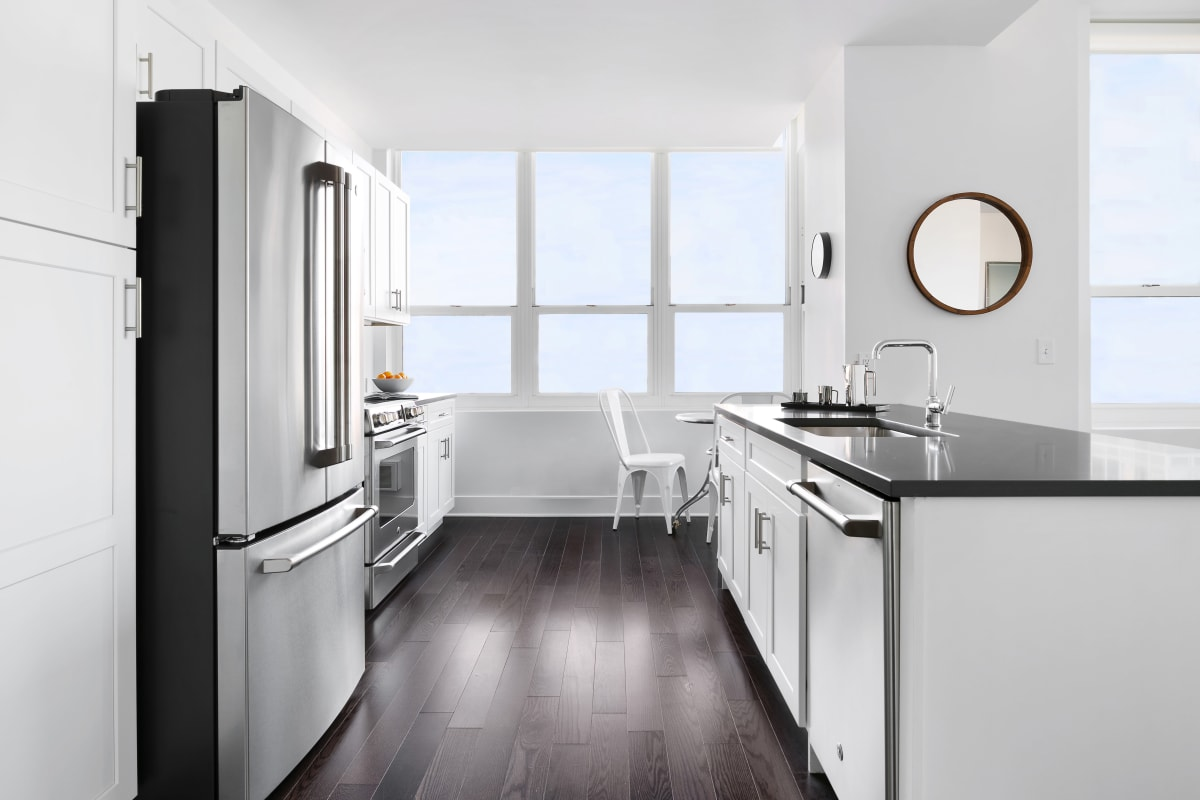 Kitchen in apartment at Trump Bay Street in Jersey City, New Jersey