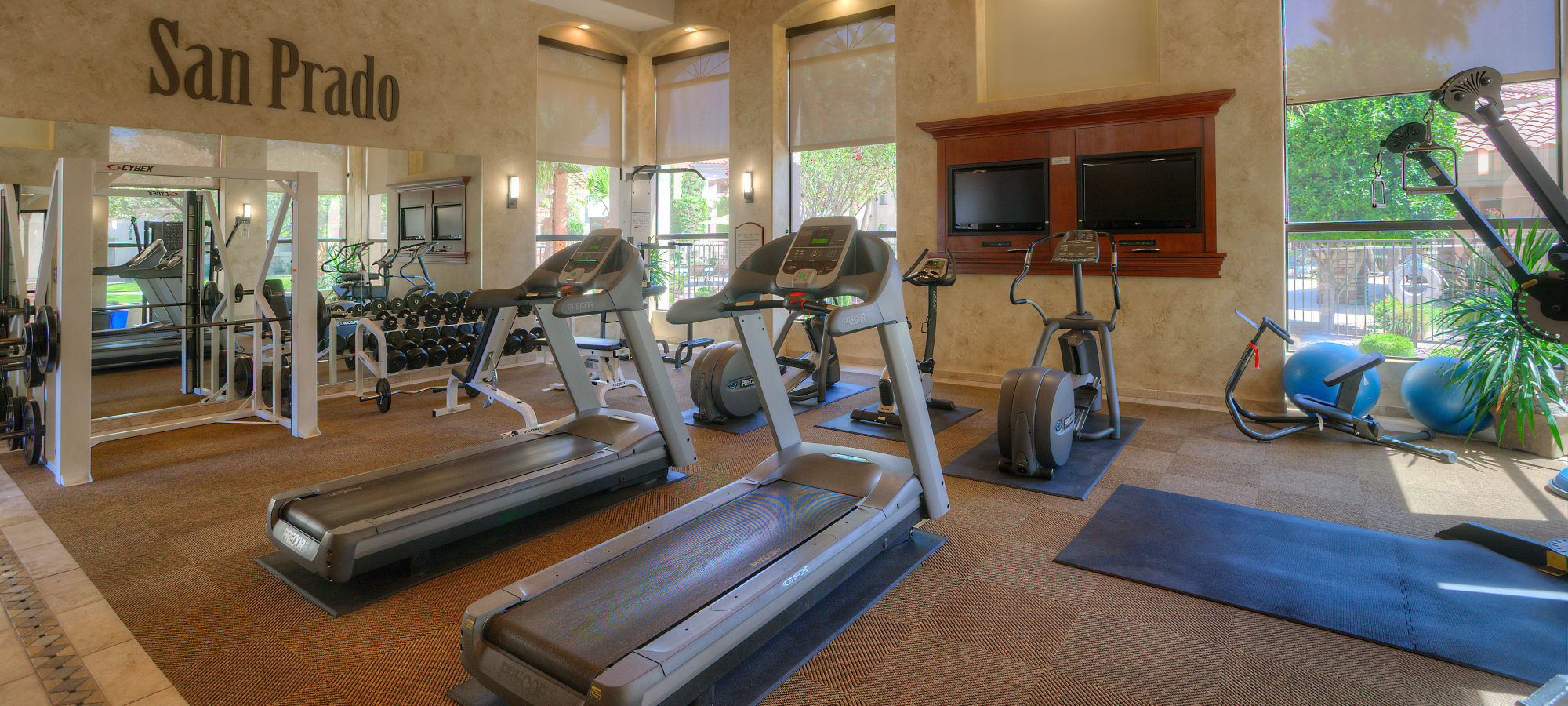 Modern fitness center featuring treadmills at San Prado in Glendale, Arizona