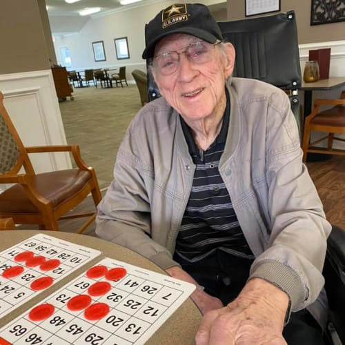 Army Veteran playing Bingo at FountainBrook in Midwest City, Oklahoma