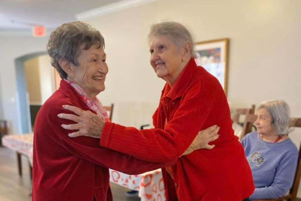 Residents dancing at Rosewood Assisted Living in Lafayette, Louisiana